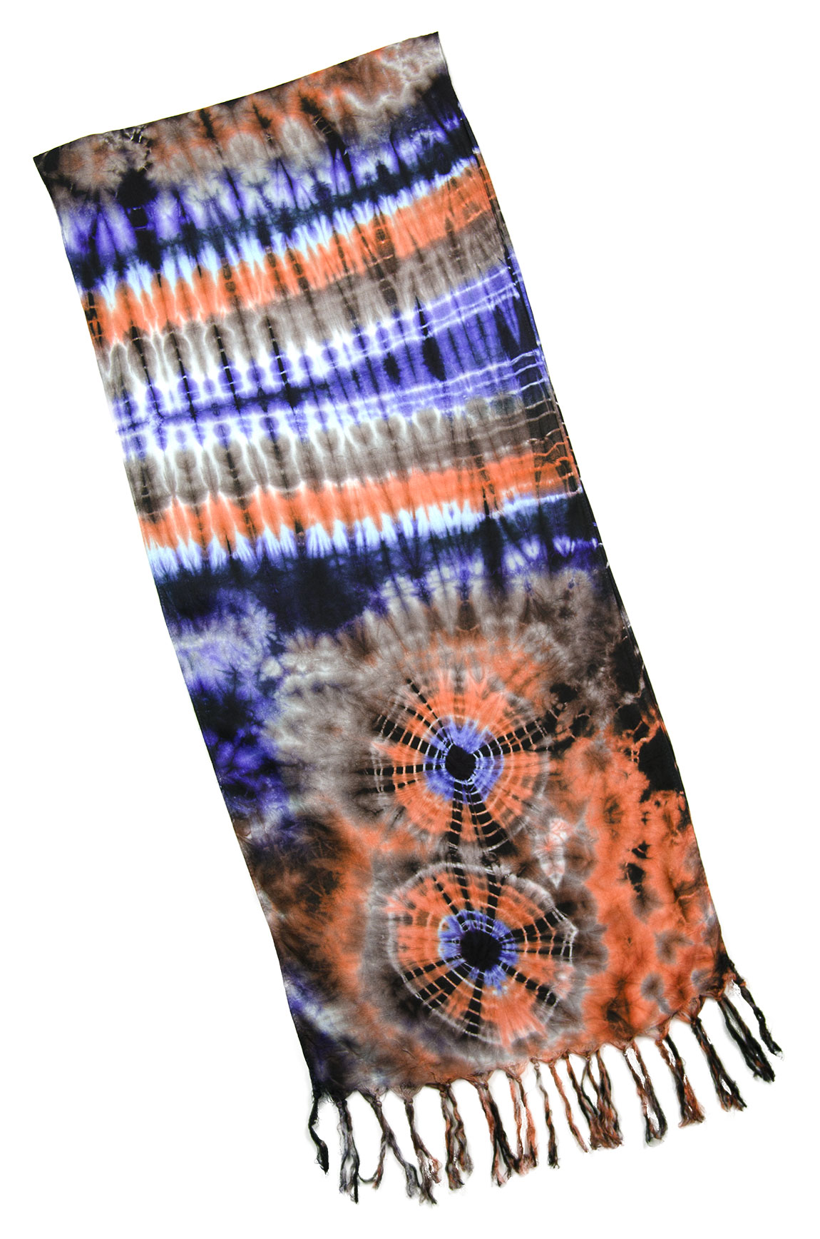 Hand Painted Tie Dye Fringed Scarf Orange-Purple-Multi
