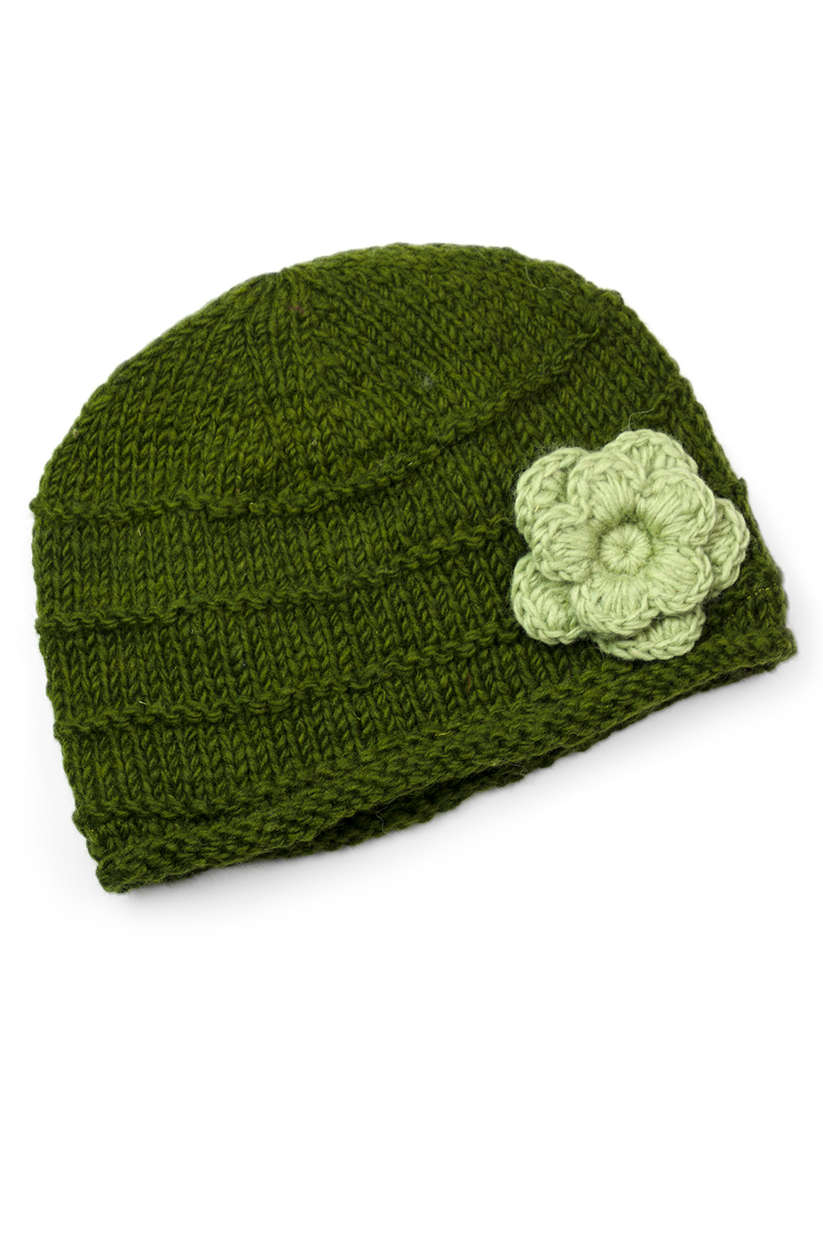 Wool Flowery Ribbed Caps Hat