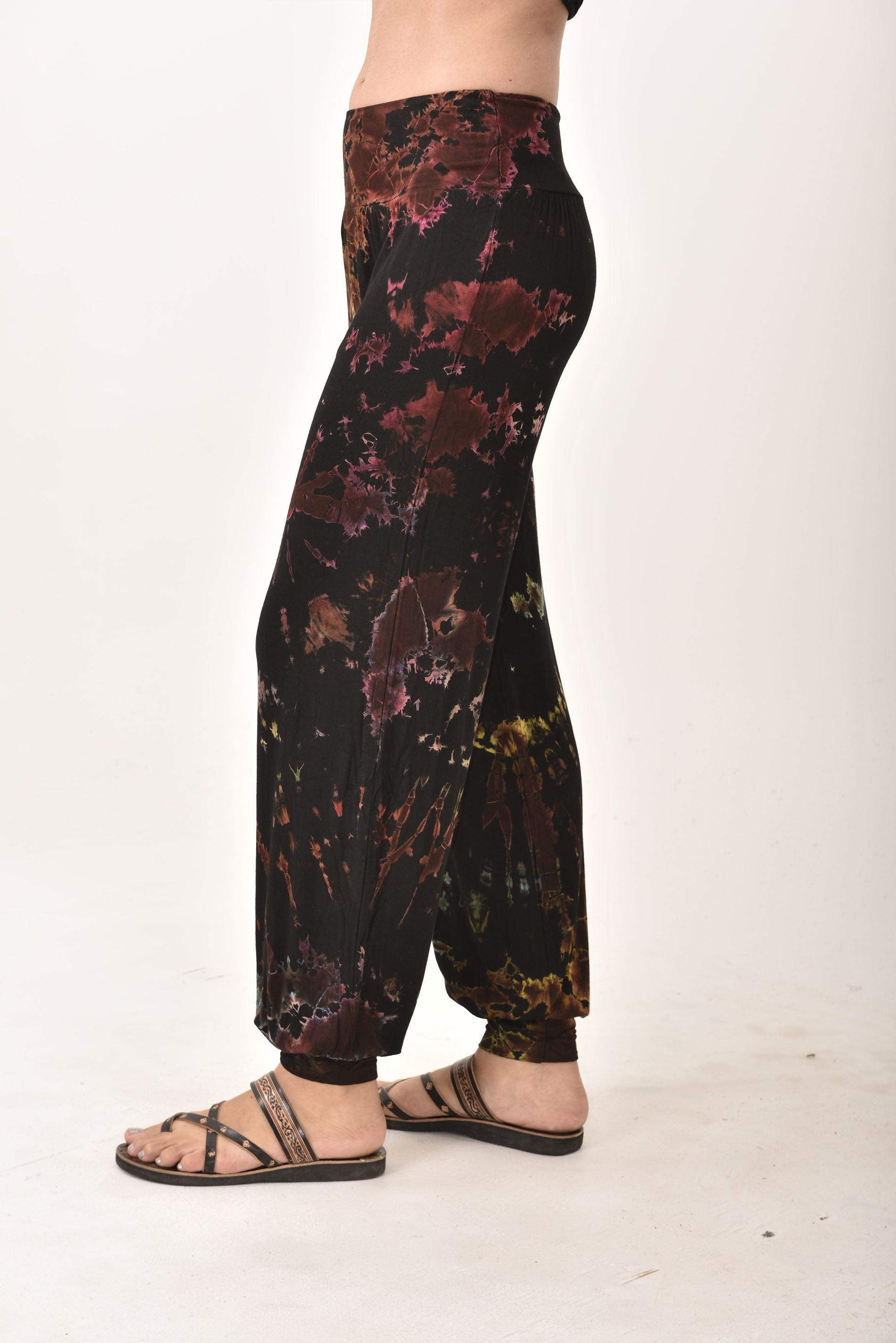 Hand Painted Tie Dye,Harem Pants , Black