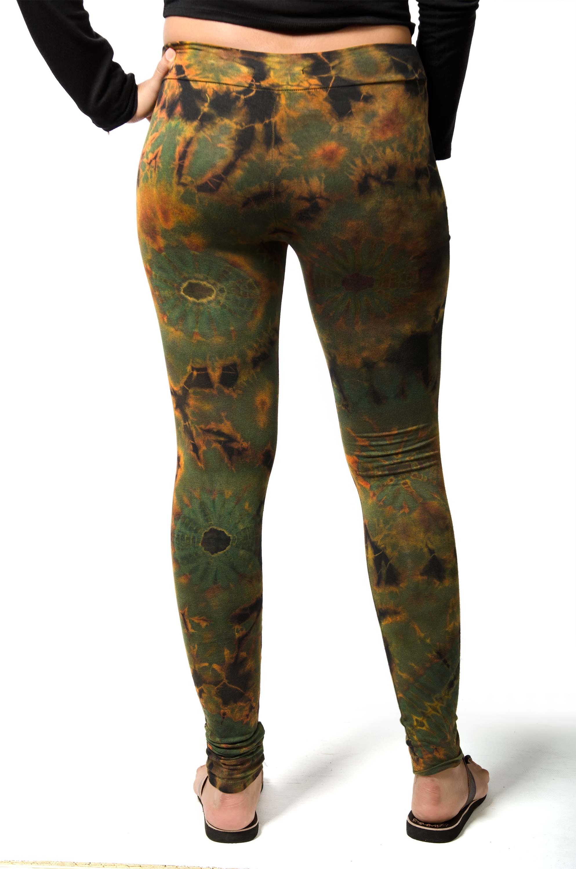 Hand Painted Tie Dye Leggings - Olive Multi