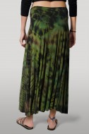 Hand Painted Tie Dye Maxi Skirt Green-Multi