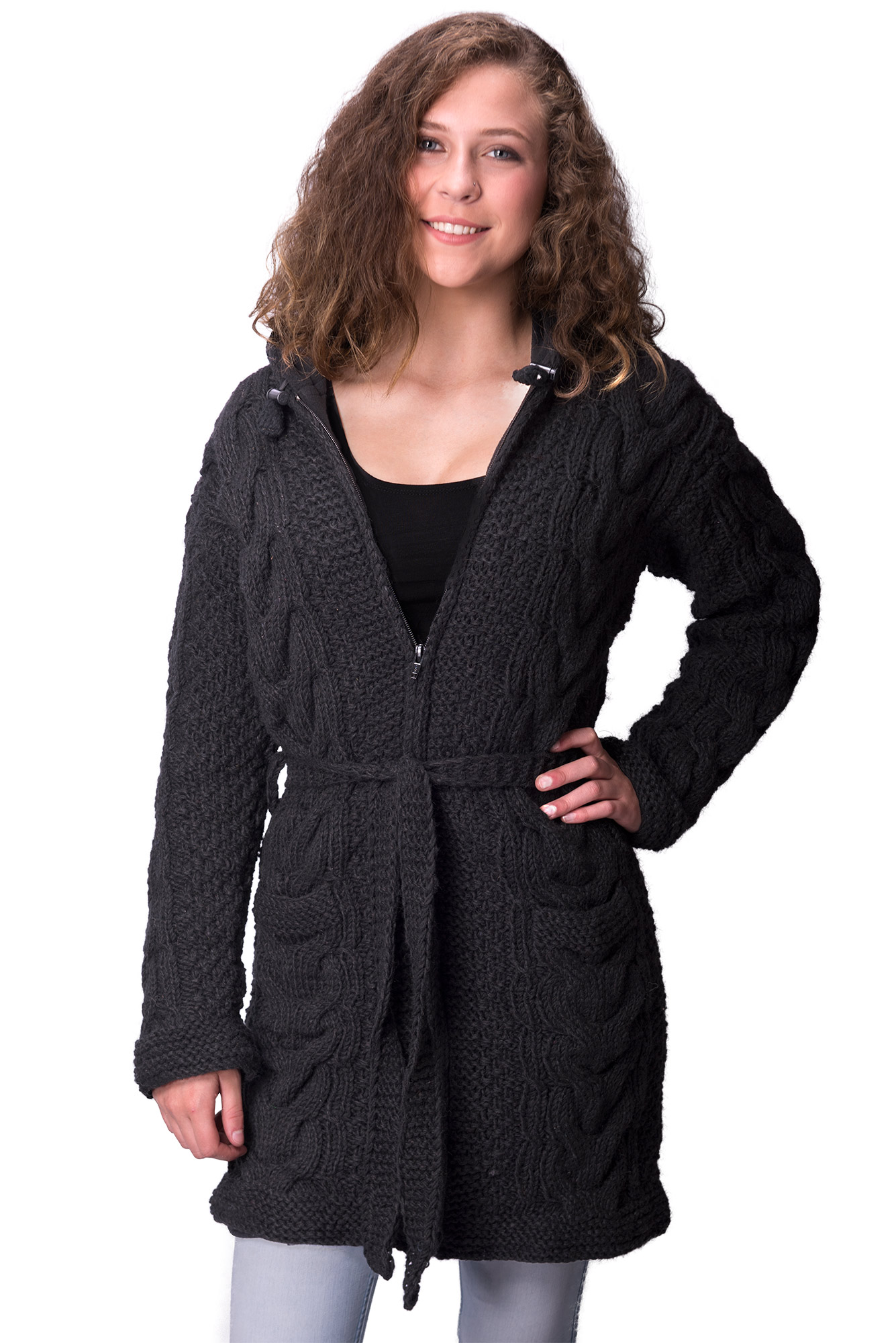 Wool Cable Knit Himalayan Mountain Jacket – Full Length Black