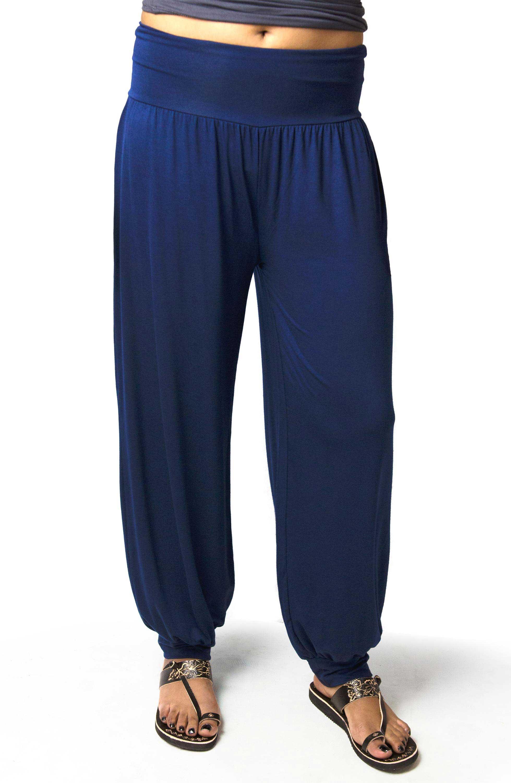 Harem Pants, Solid Color, Blue - 2365-B