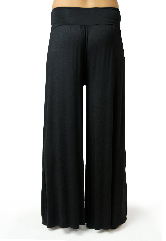 Wide Leg Pant, Solid Color, Black - 2368-K