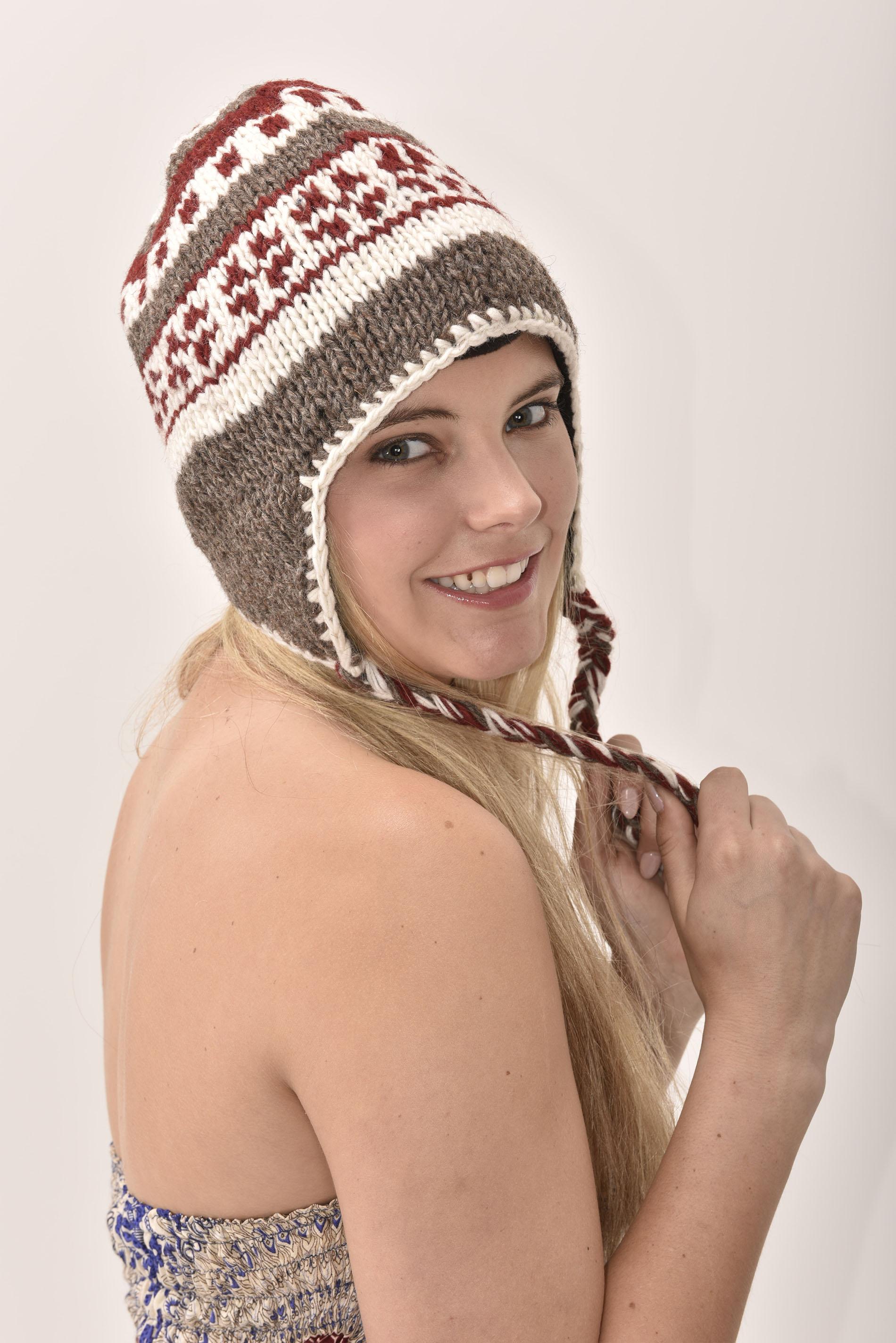 Sherpa Hat Vintage Pattern, Merlot