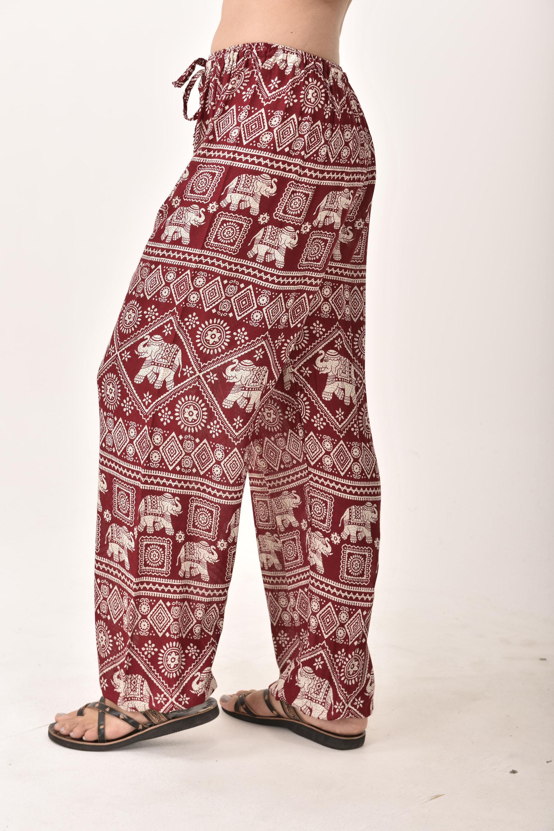 Drawstring Pants Elephant Print, Red