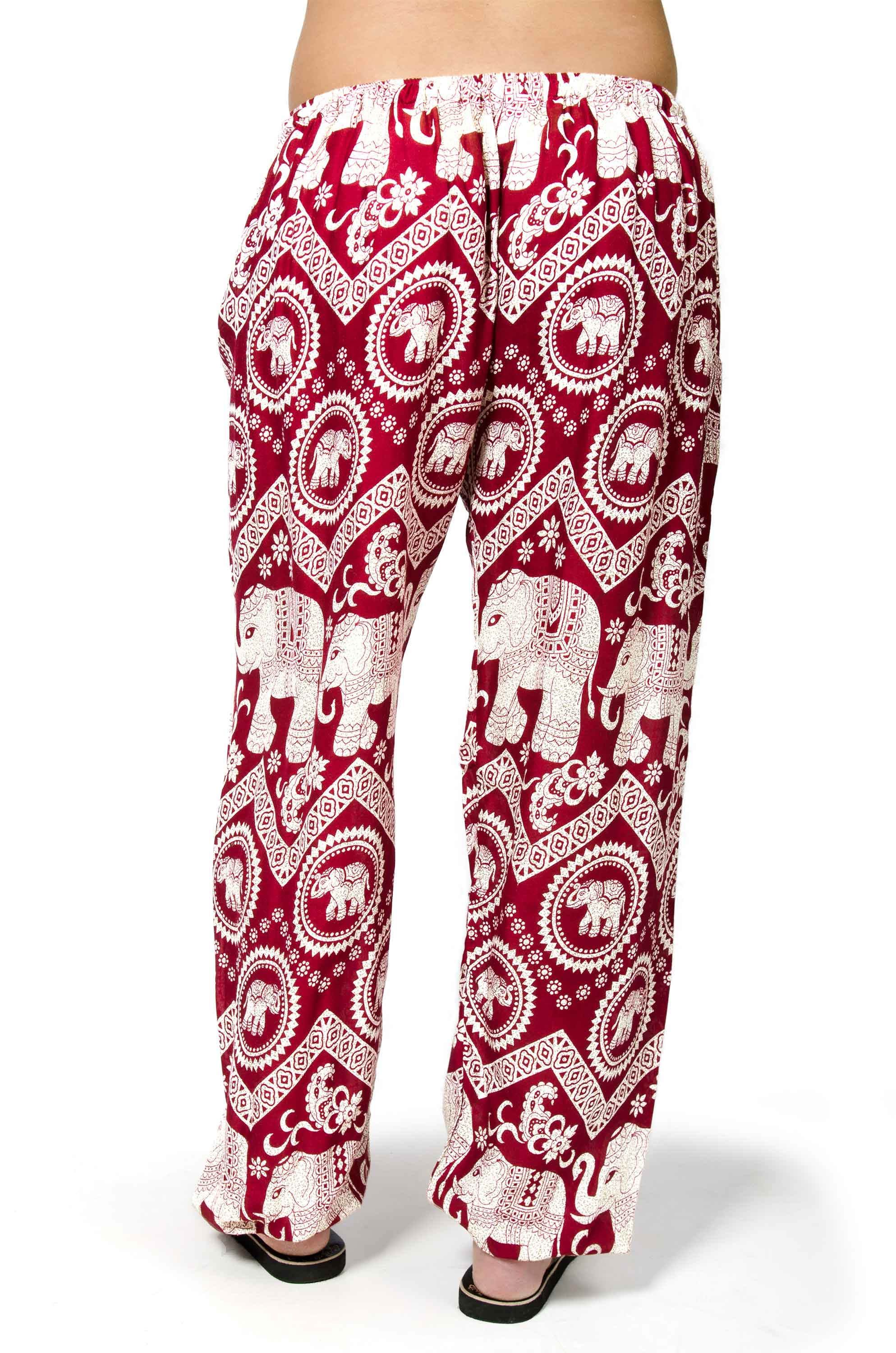 Elephant Print Drawstring Pants - Red
