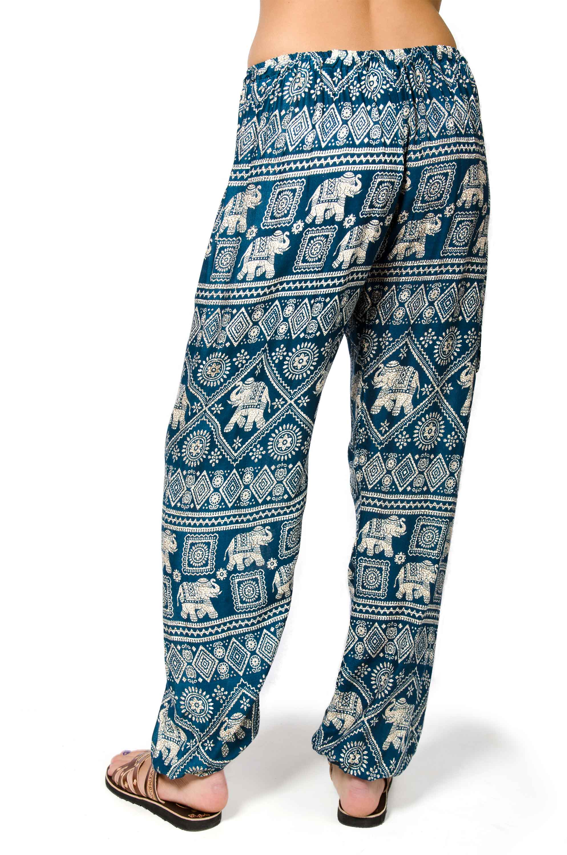 Elephant Print Drawstring Pants - Teal