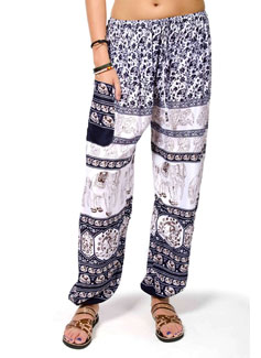 Elephant Print Drawstring Pants - Navy