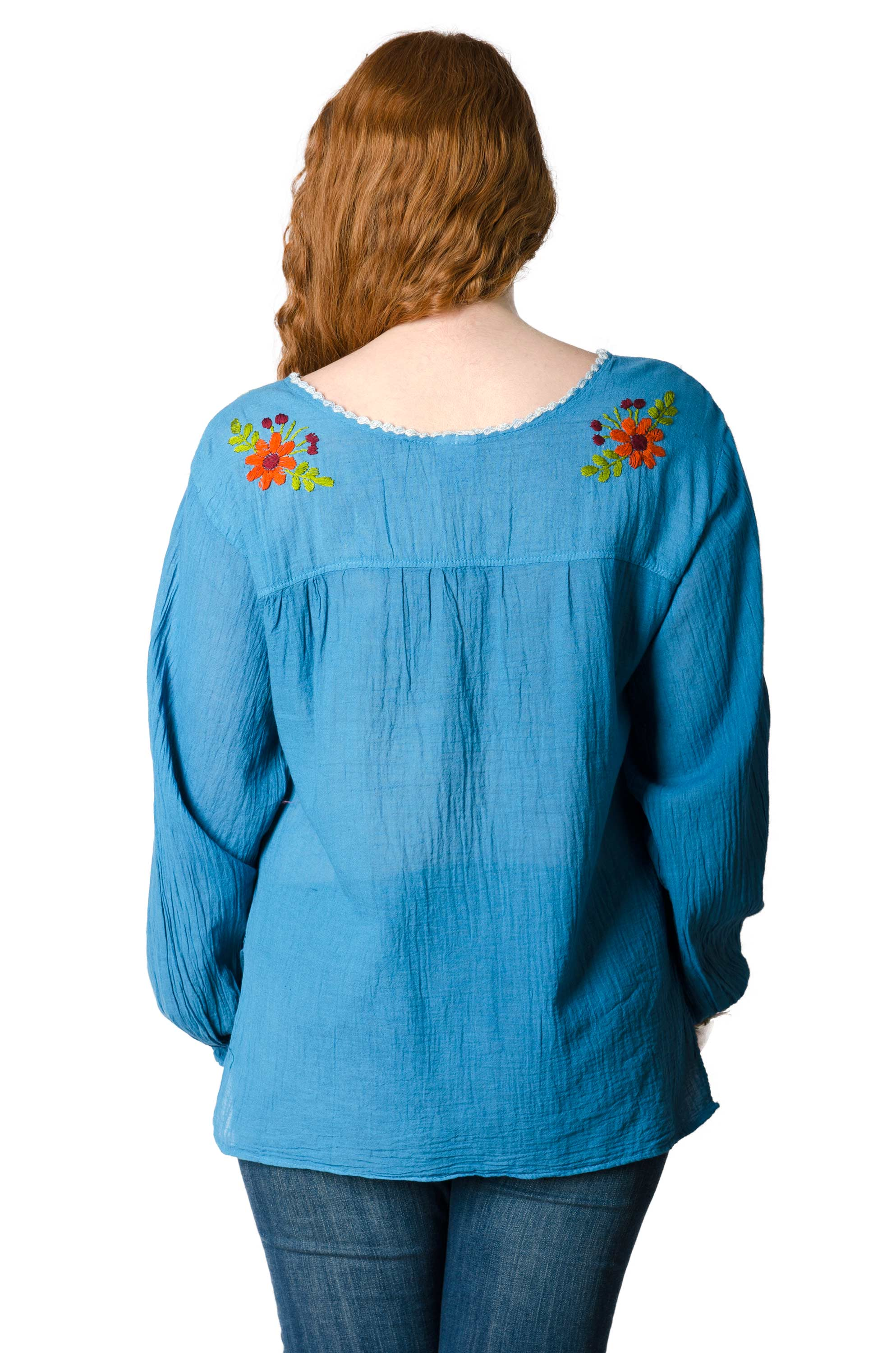 Long Sleeve Embroidered Peasant Blouse - Blue