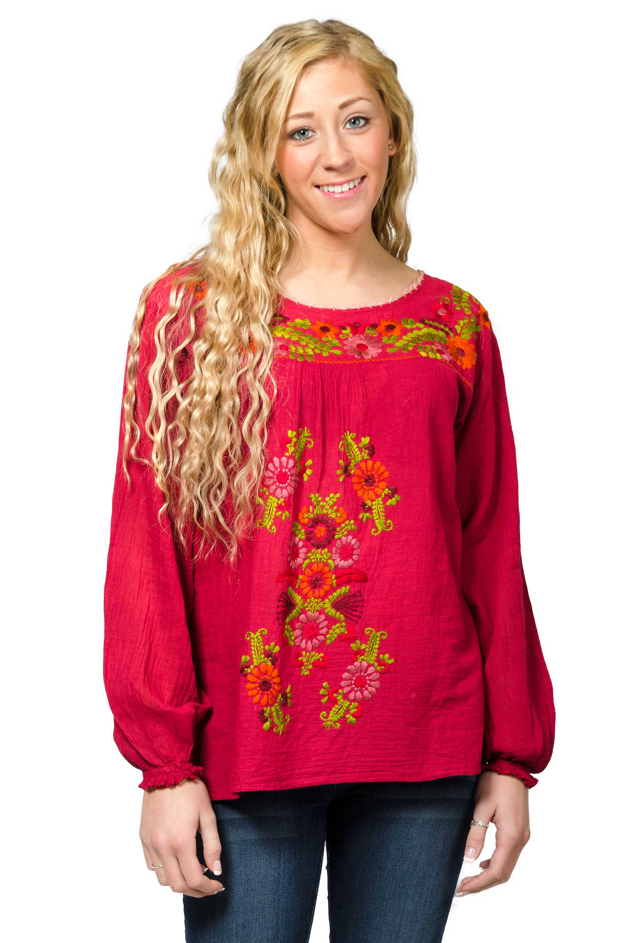 Long Sleeve Embroidered Peasant Blouse - Red