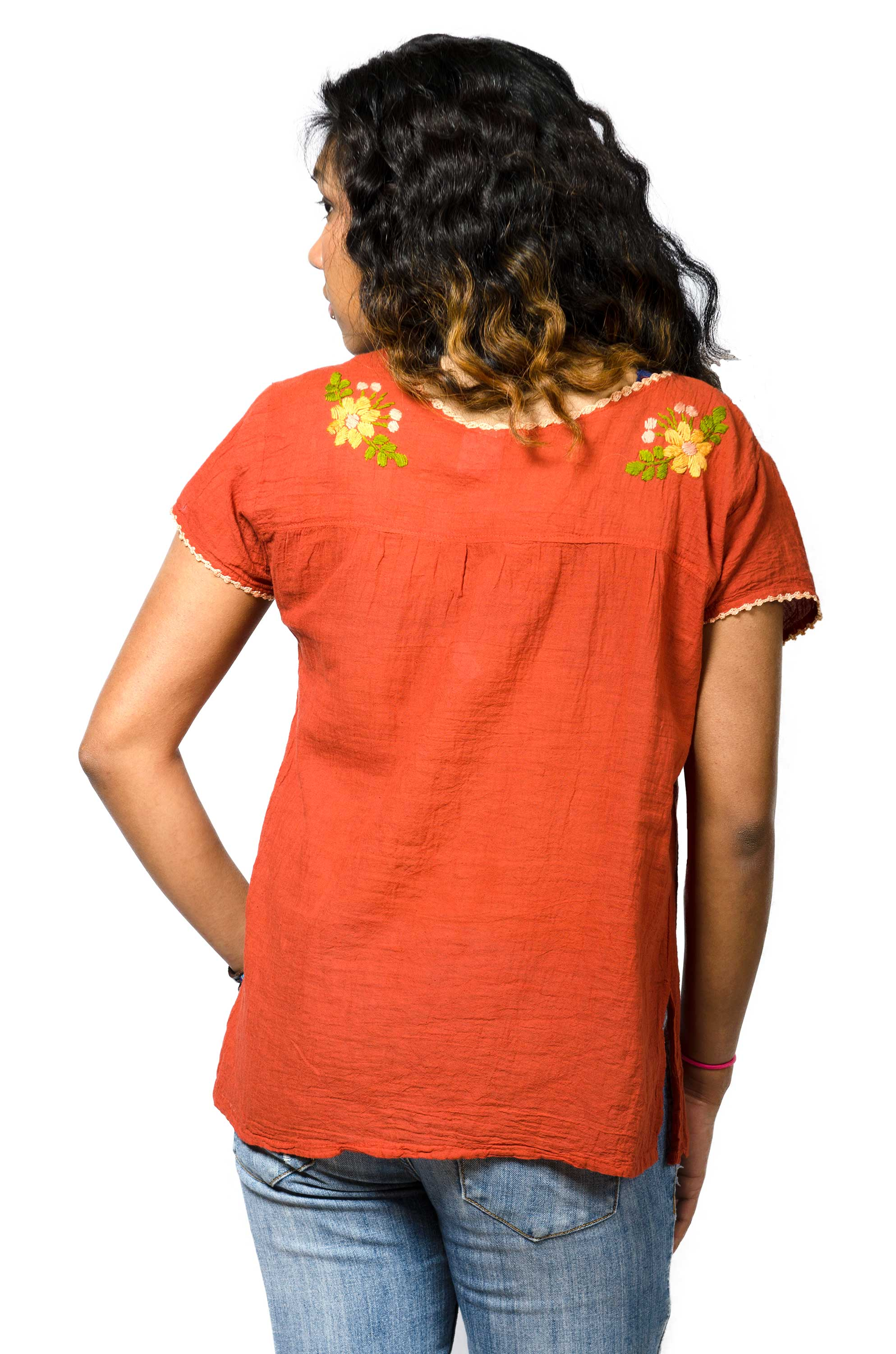 Short Sleeve Embroidered Peasant Blouse - Pumpkin