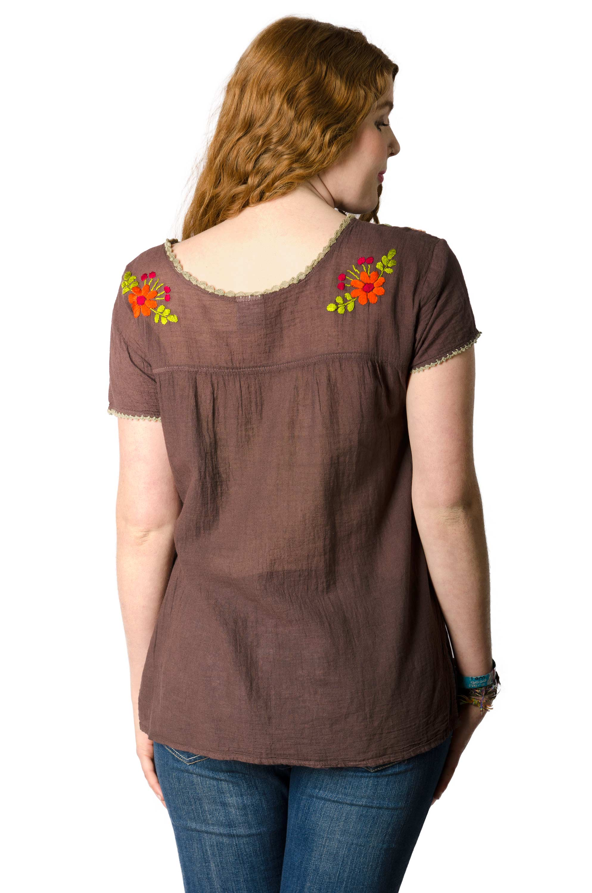 Short Sleeve Embroidered Peasant Blouse - Cocoa