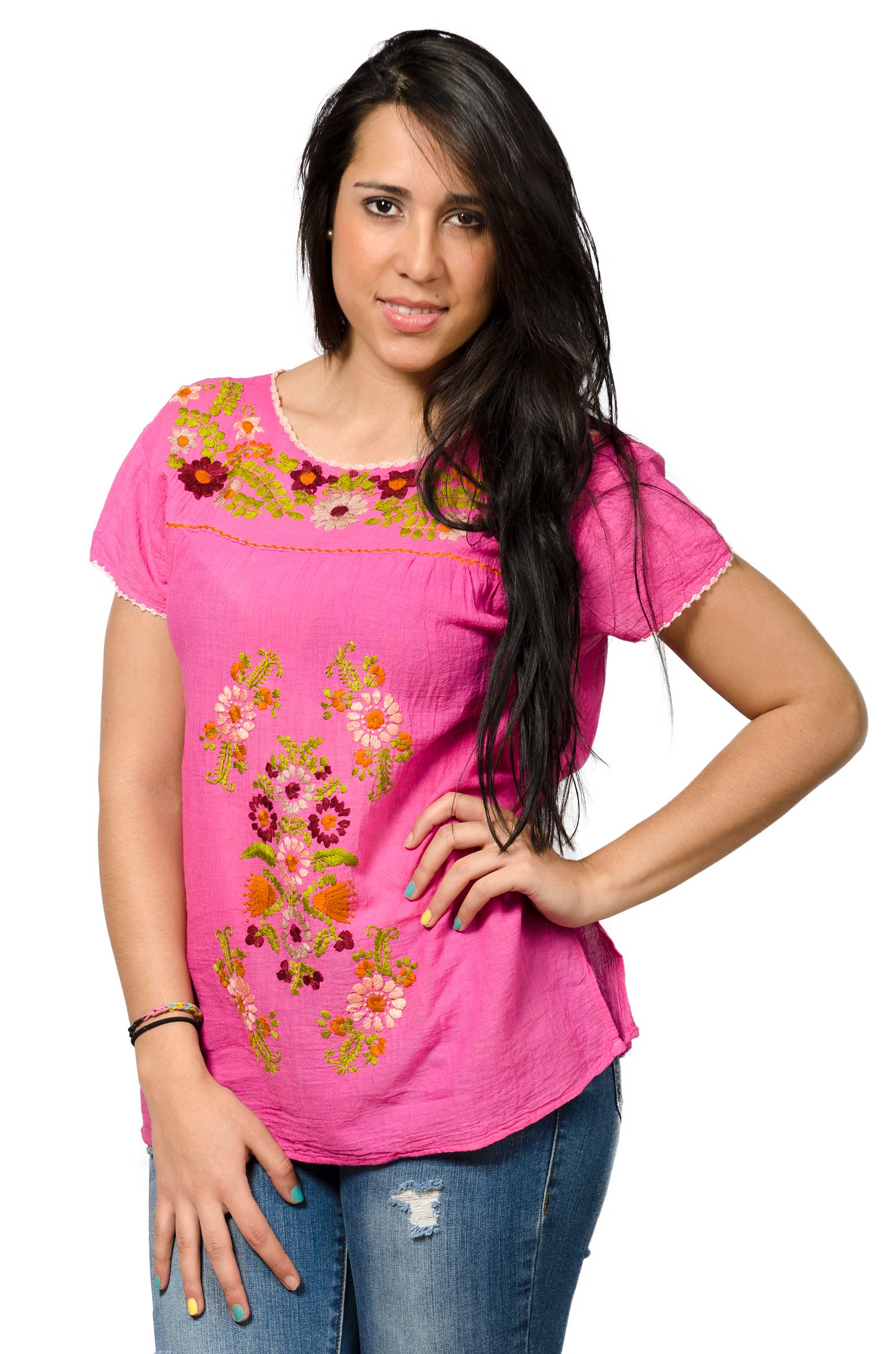 Short Sleeve Embroidered Peasant Blouse - Very Pink