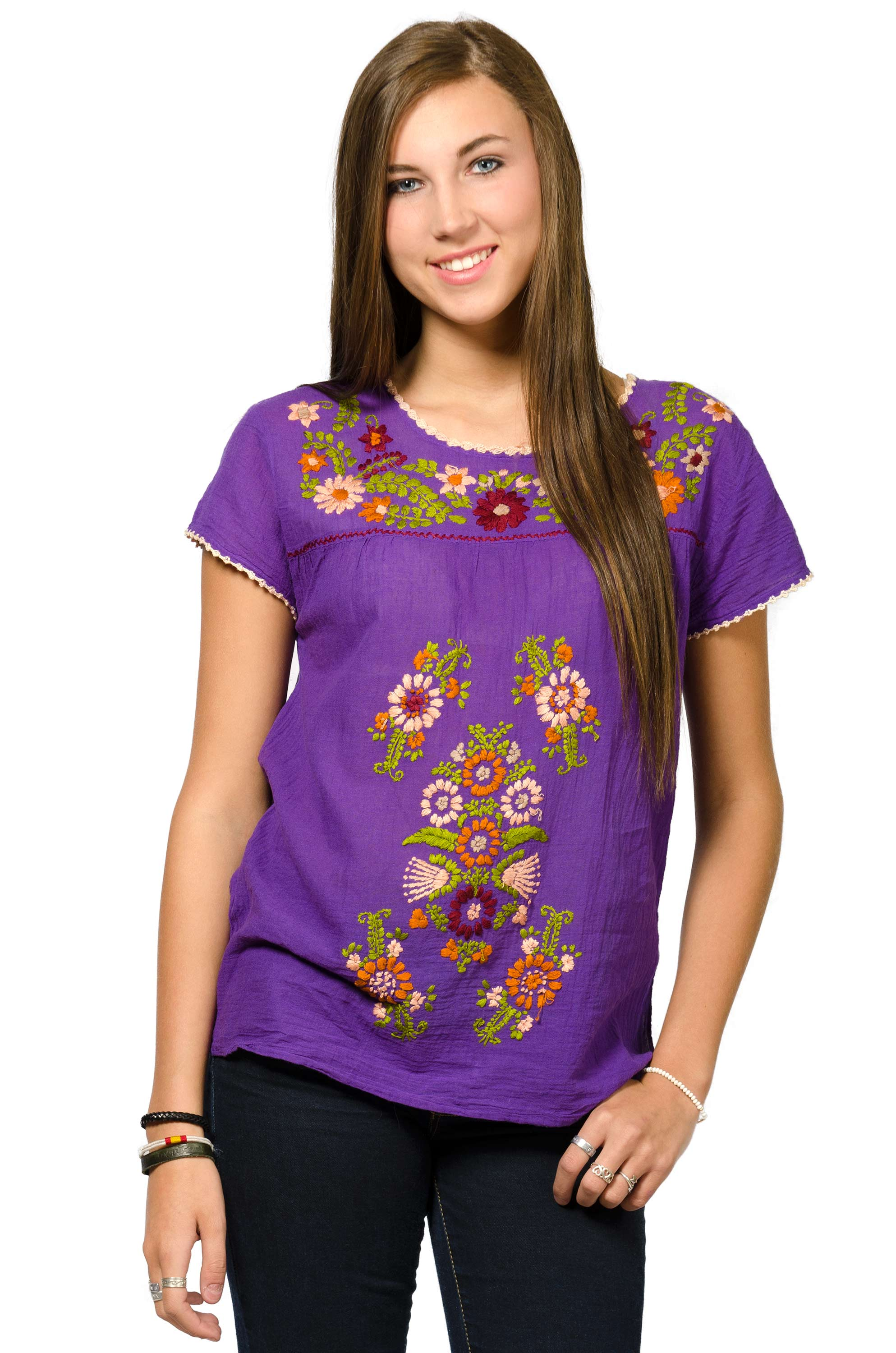 Short Sleeve Embroidered Peasant Blouse - Violet