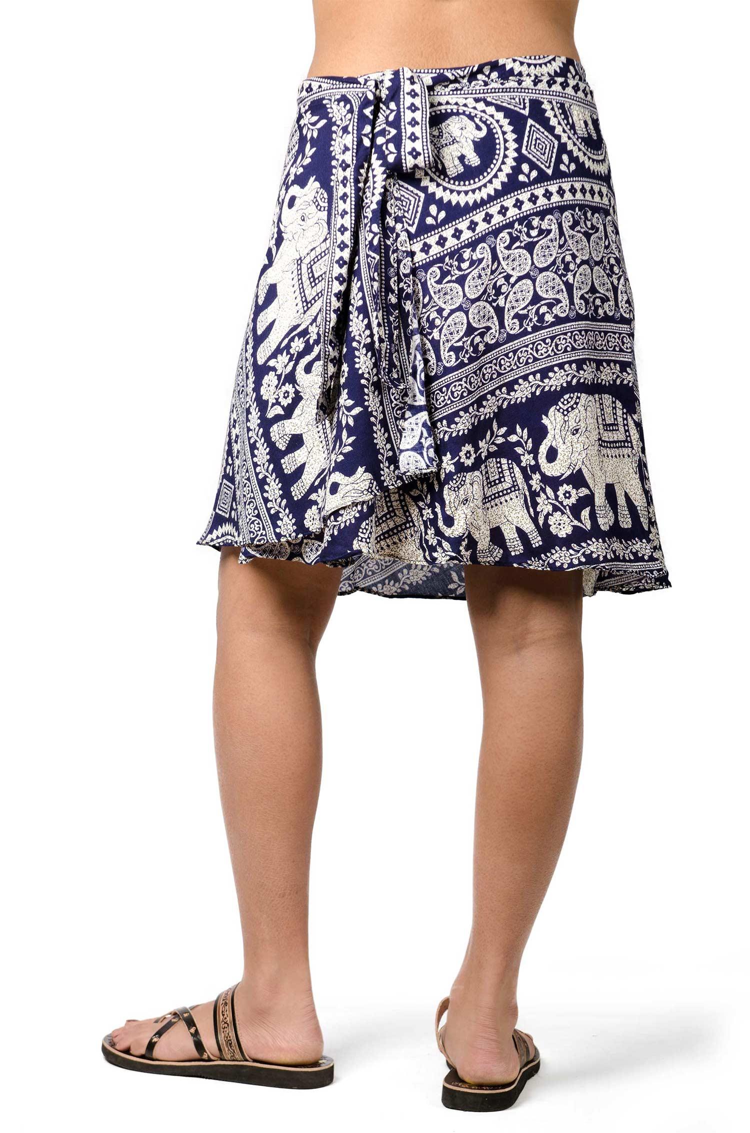 Elephant Print Short Wrap Skirt Navy