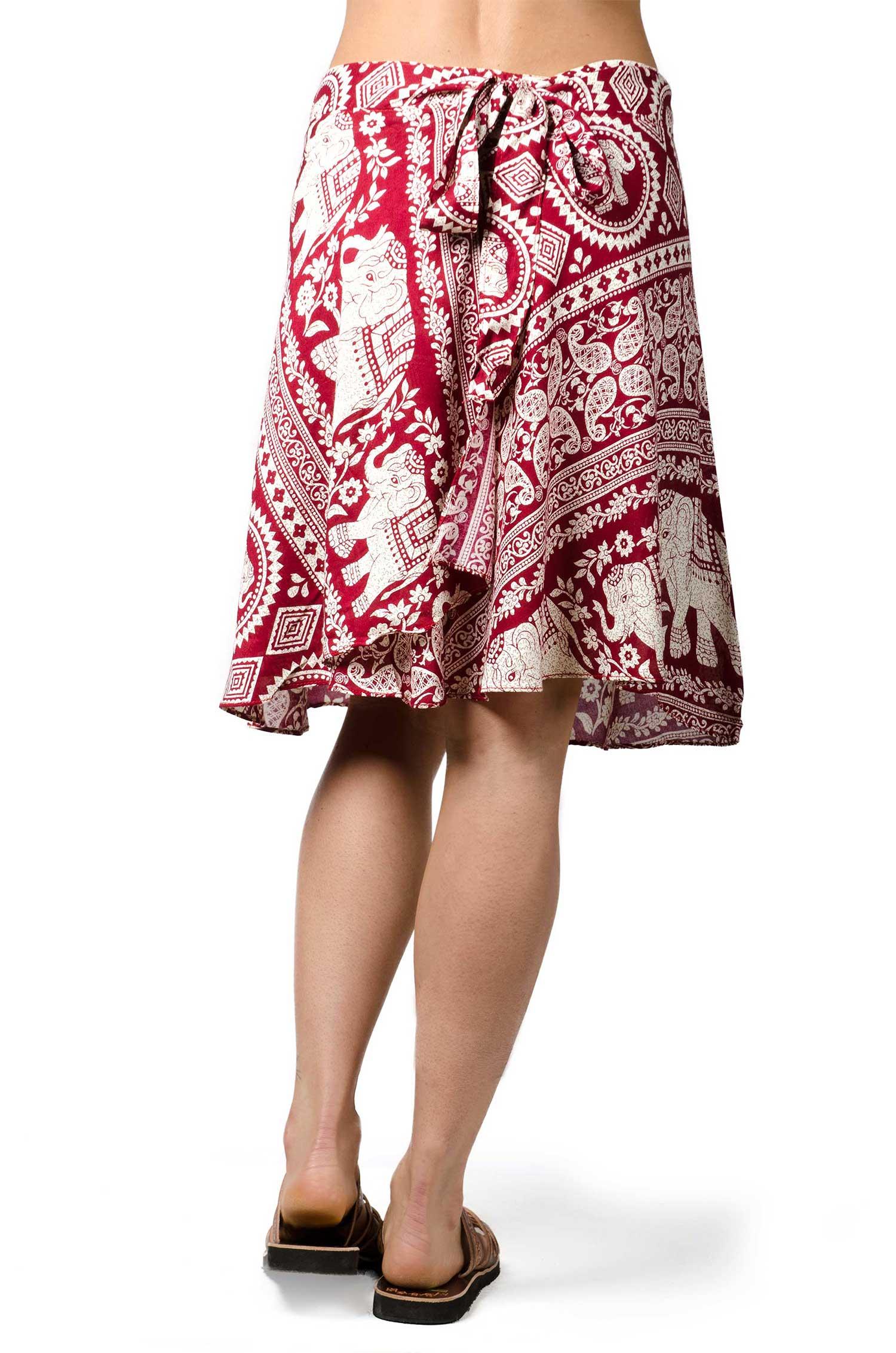 Elephant Print Short Wrap Skirt Teal 3289T