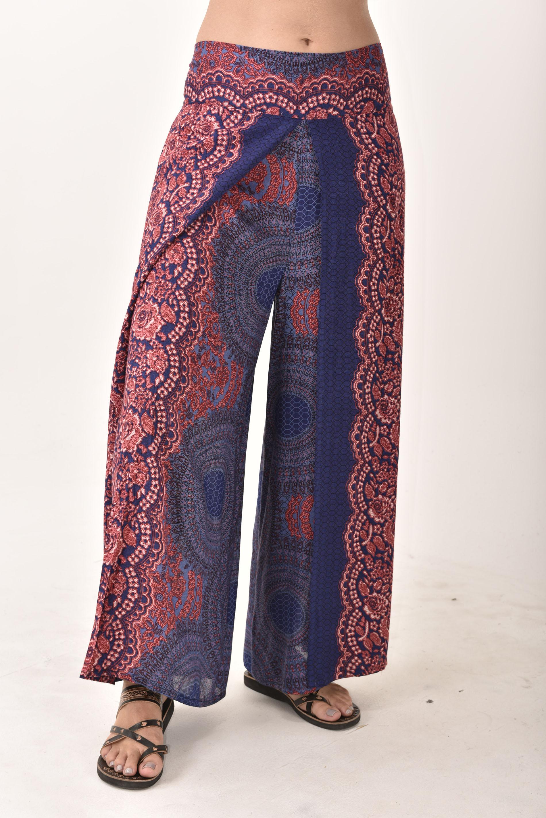 Wrap Leg Pants Honeycomb Print, Blue