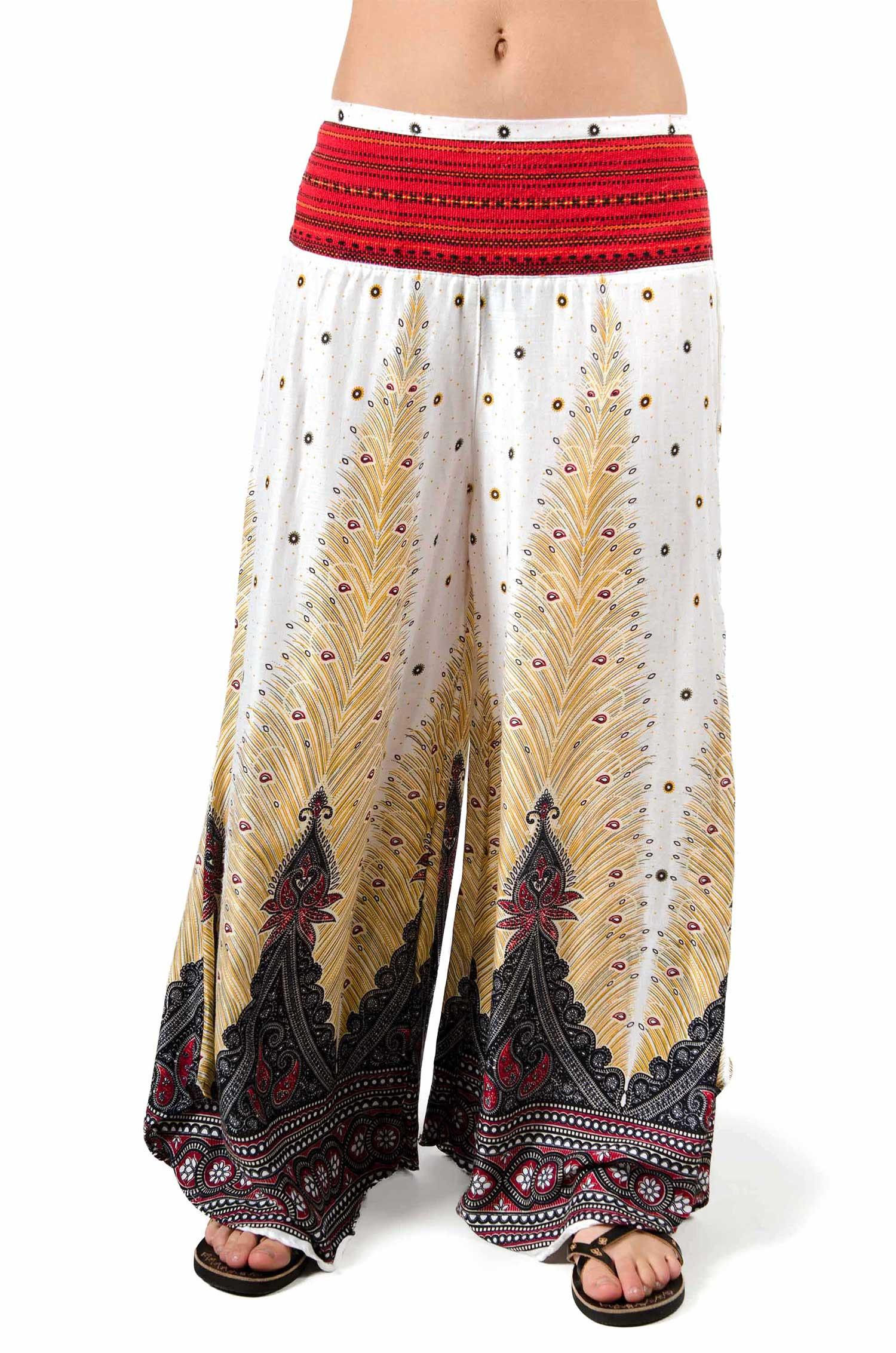 Wide Leg Print Pants - White - 3669W