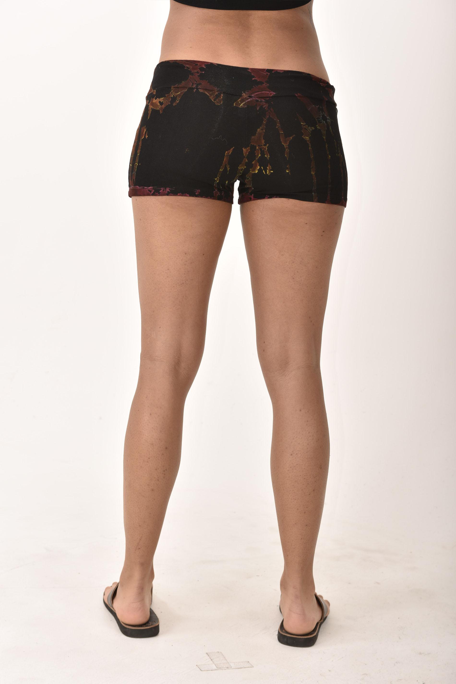 Mini Shorts, Hand Painted Tie Dye, Black Multi