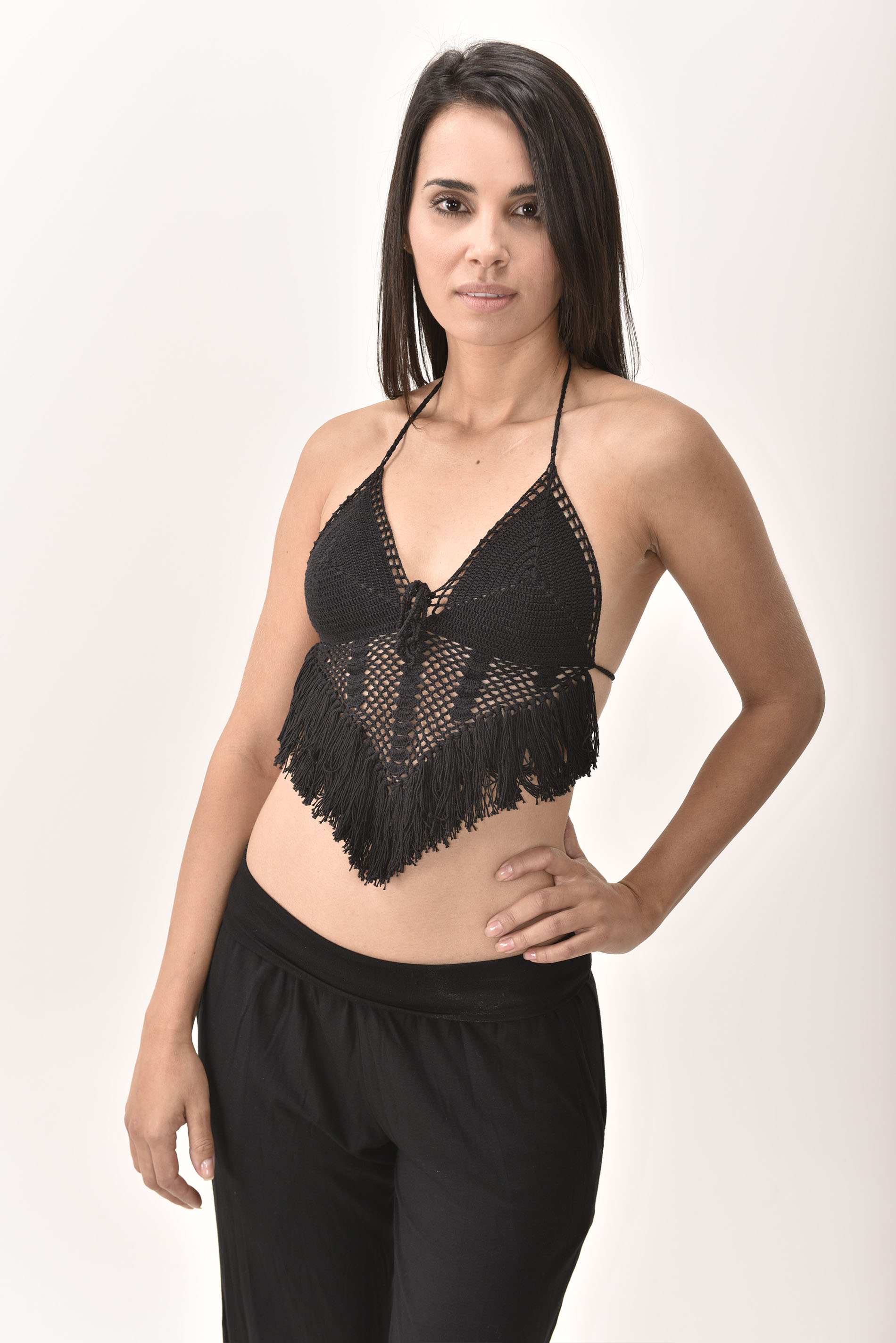 Crochet Top, Black - 4474K