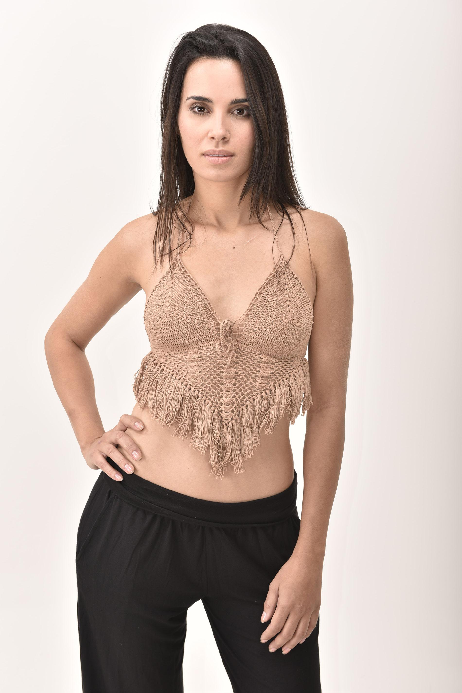 Crochet Top, Brown - 4474N