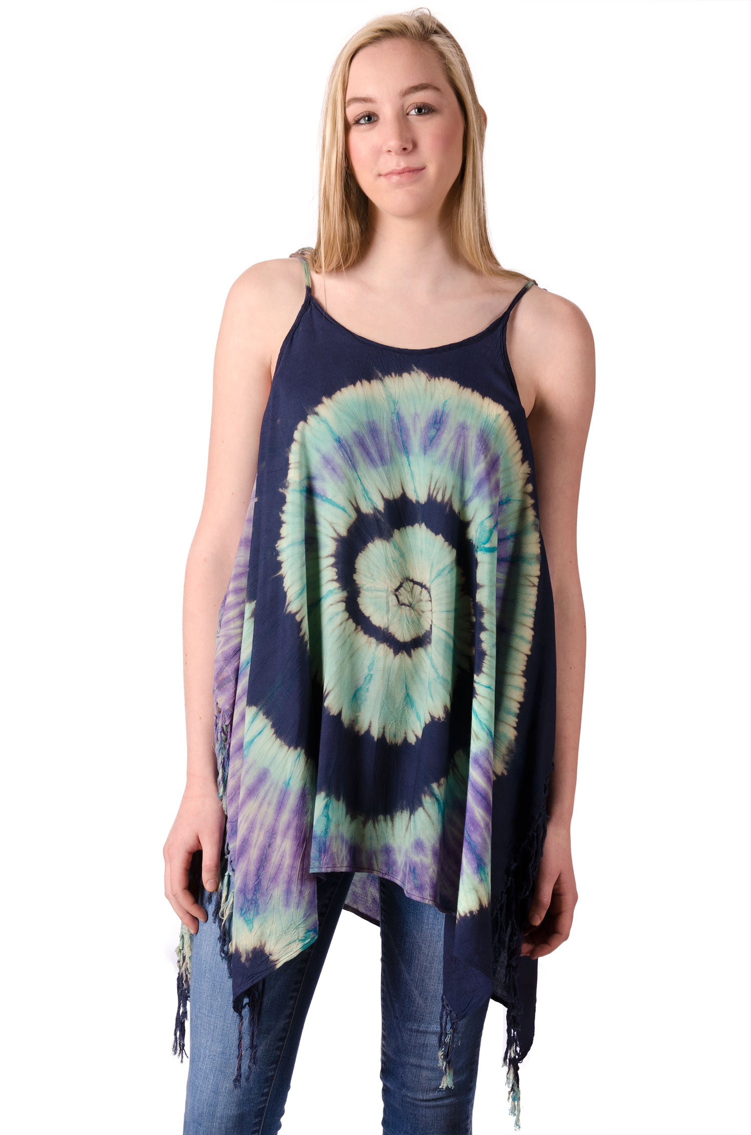 Fairy-Cut Fringed Top Hand Painted Tie Dye, Blue