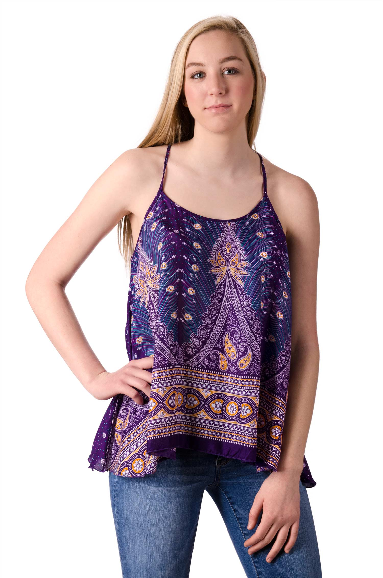 Peacock Print Cami Top - Purple Multi - 4484U