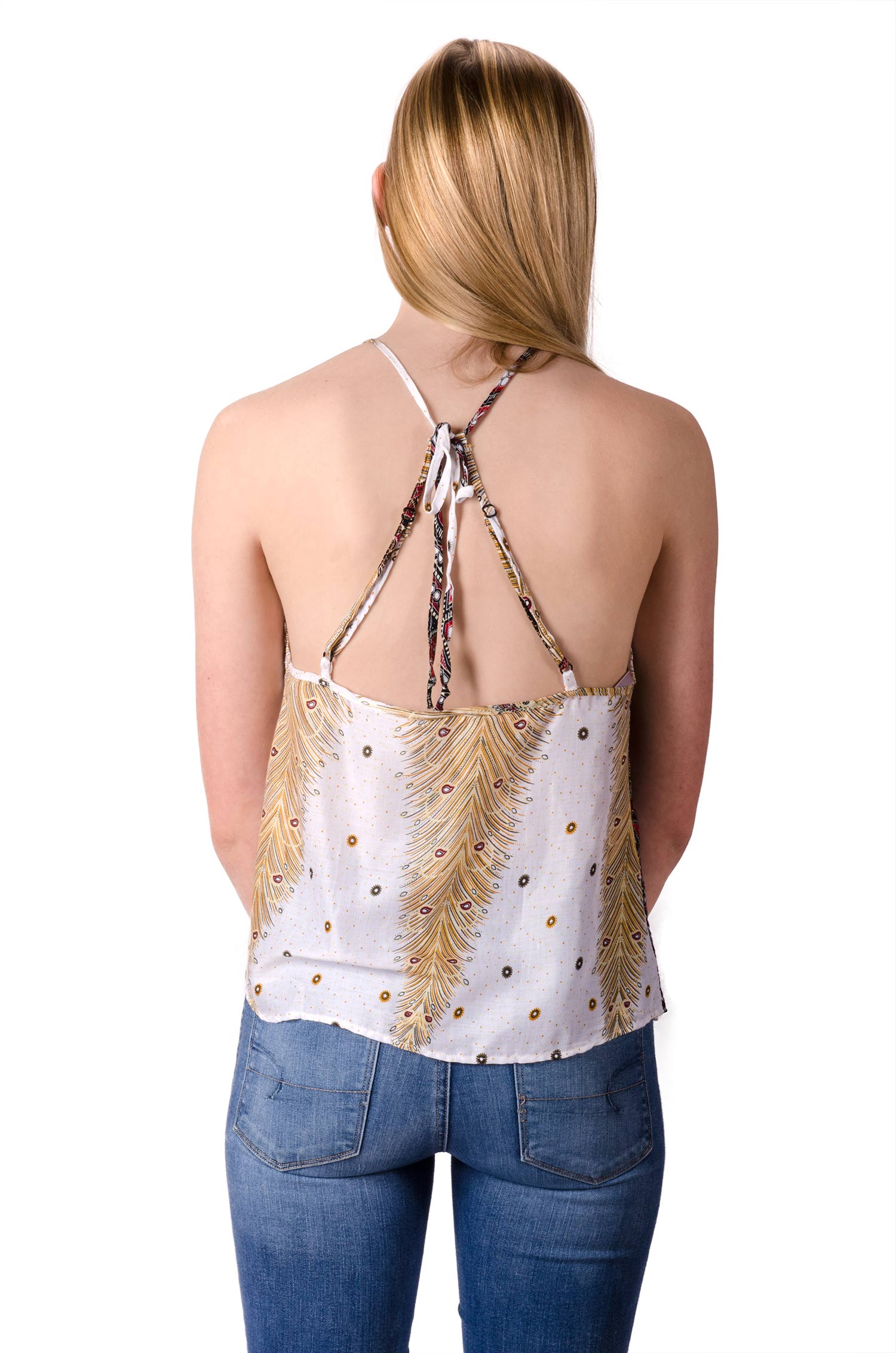 Peacock Print Cami Top - White Multi - 4485W