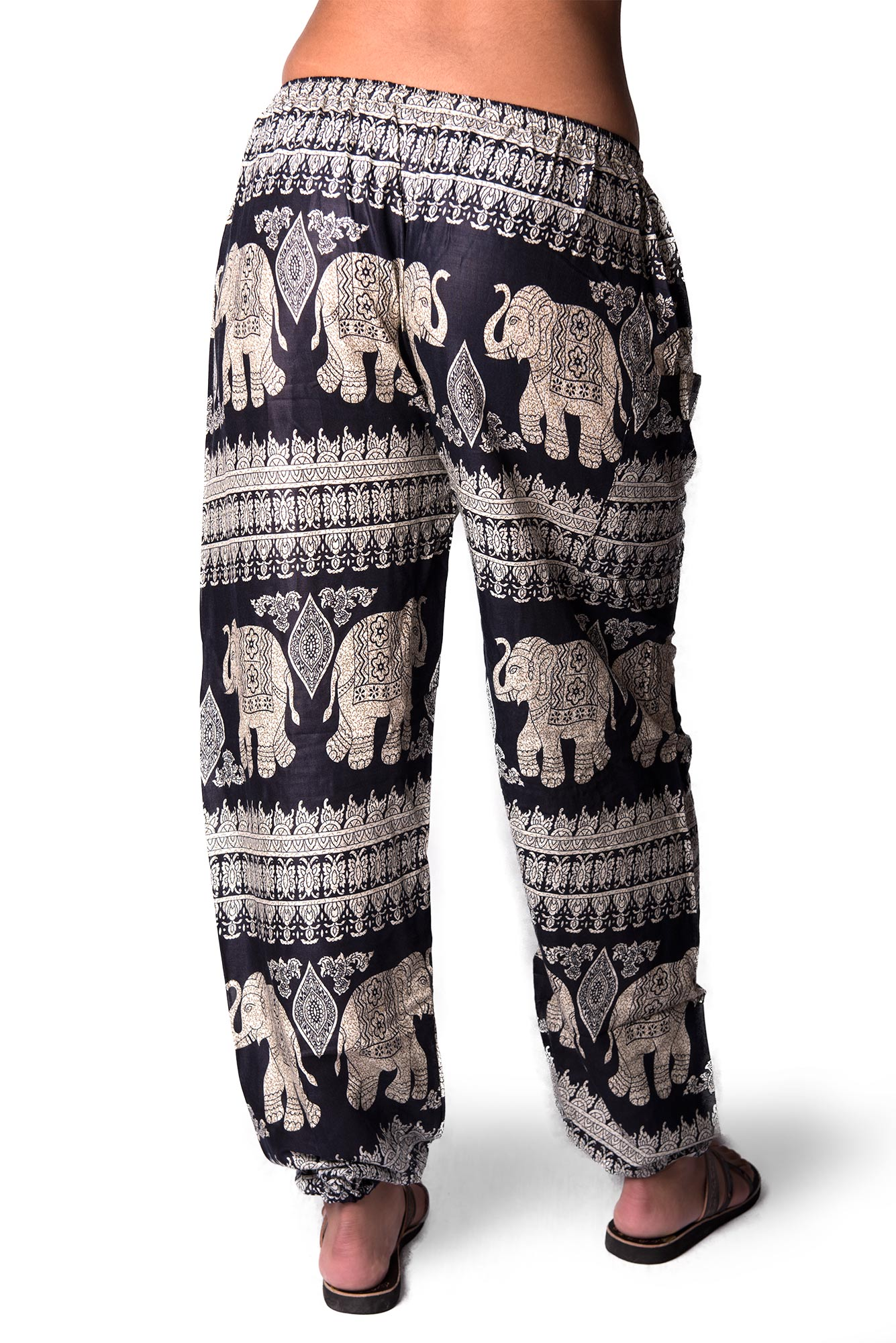 Drawstring Pants Elephant Print, Navy Blue - 4495B