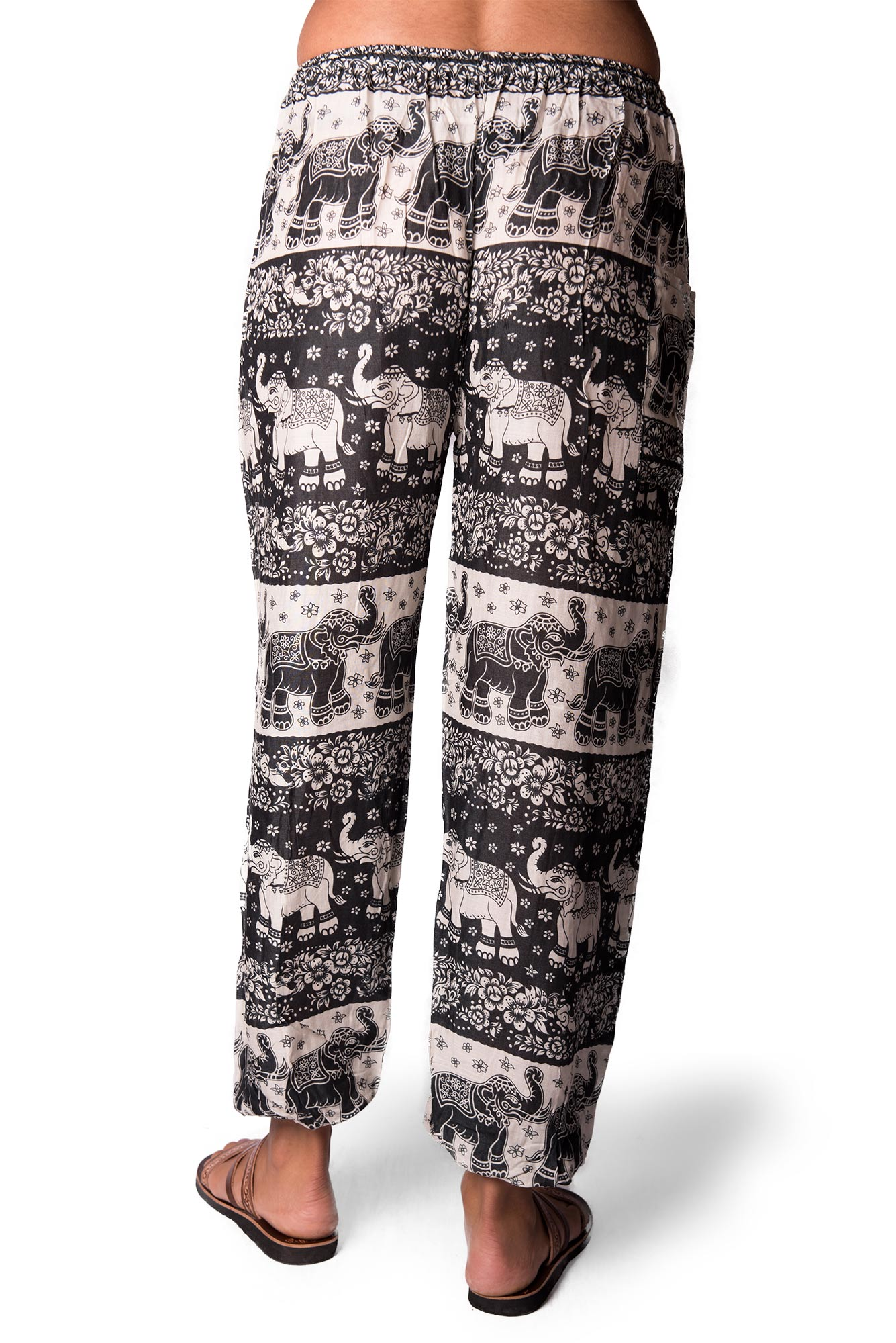 Drawstring Pants Elephant Print, Black - 4495K