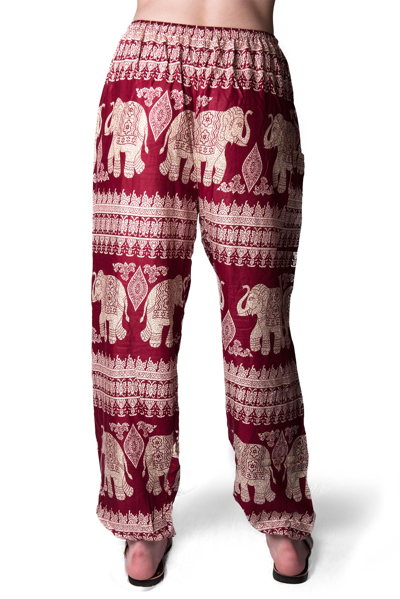 Drawstring Pants Elephant Print Red  - 4495R