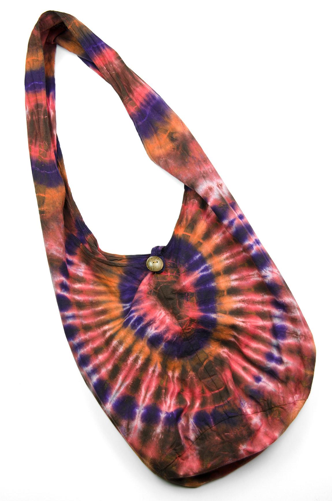 Hand Painted Tie Dye Peddler Bag Orange-Blue-Multi