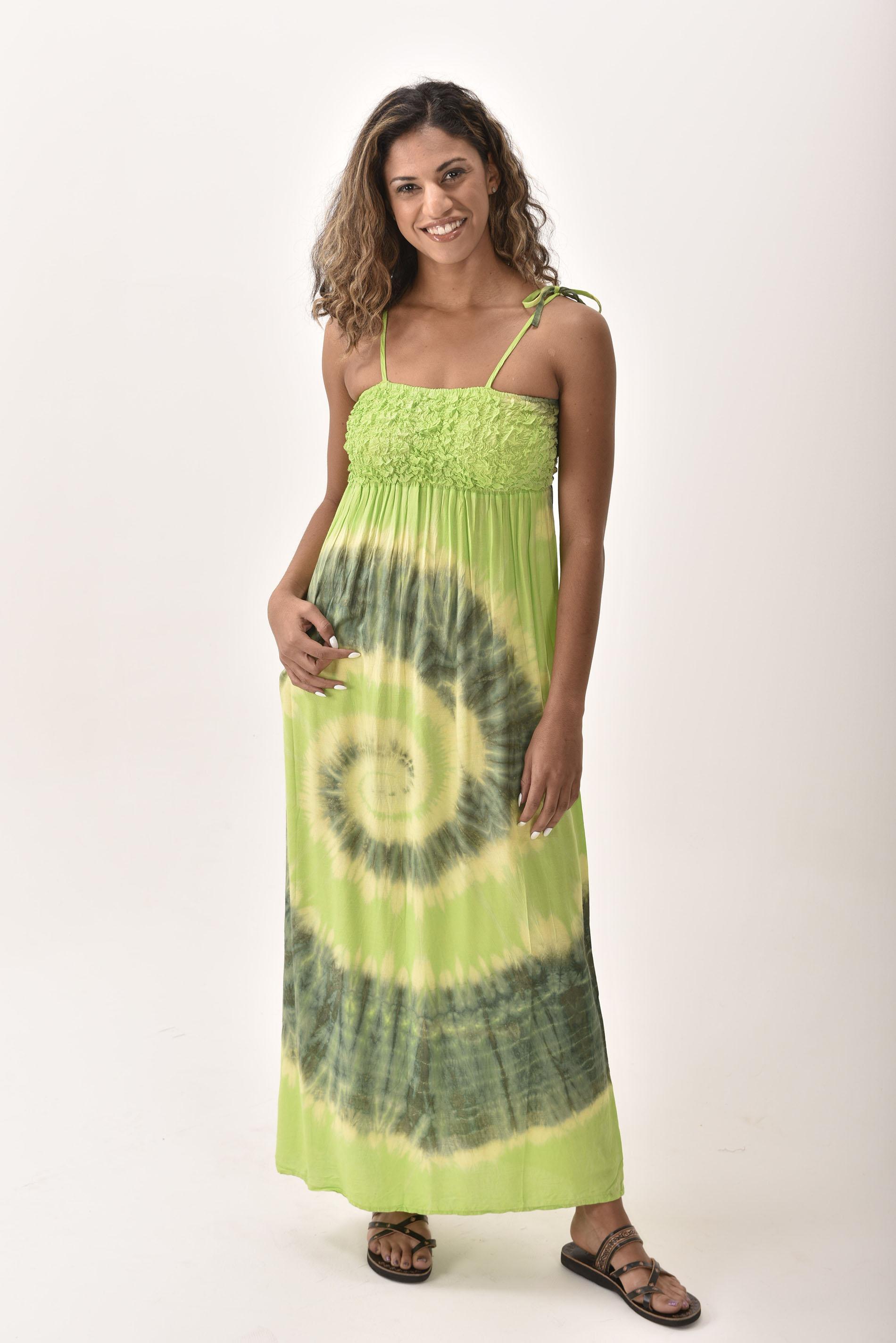 Maxi Dress, Hand Painted Tie Dye, Green Orange